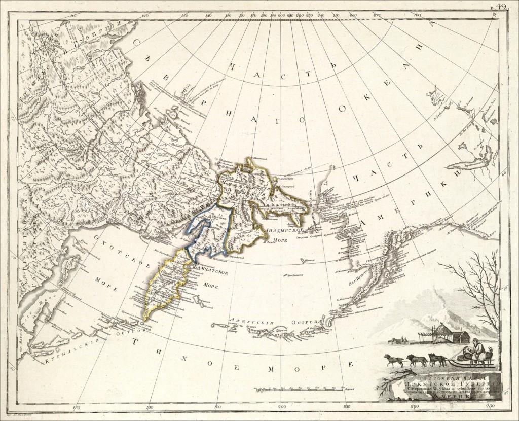 чукотский полуостров на карте 1800 года